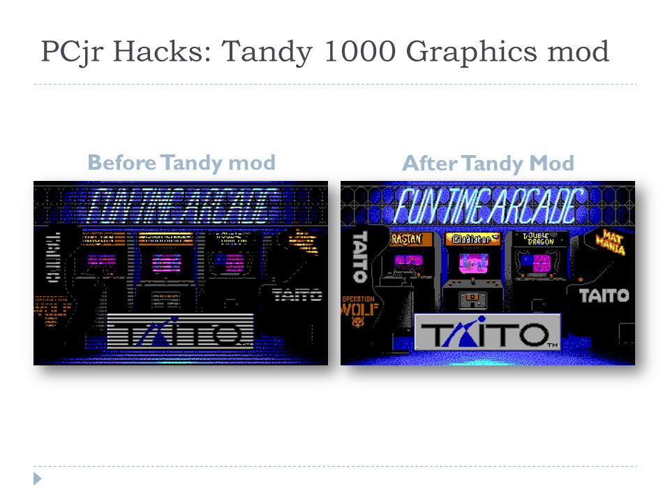 PCjr Hacks: Tandy 1000 Graphics mod