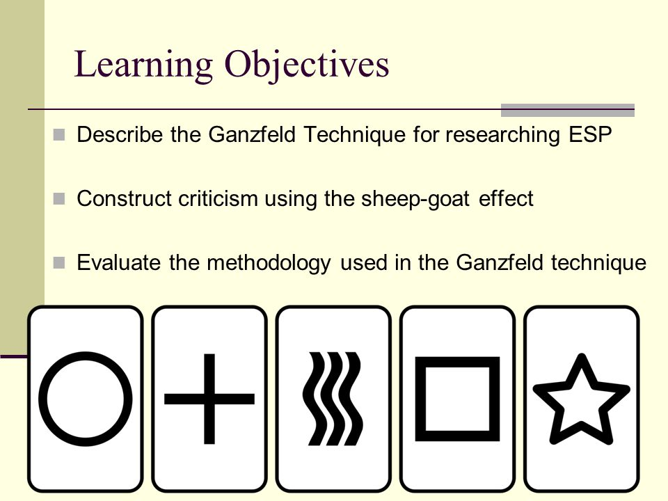 Learning Objectives Describe the Ganzfeld Technique for researching ESP. Construct criticism using the sheep-goat effect.