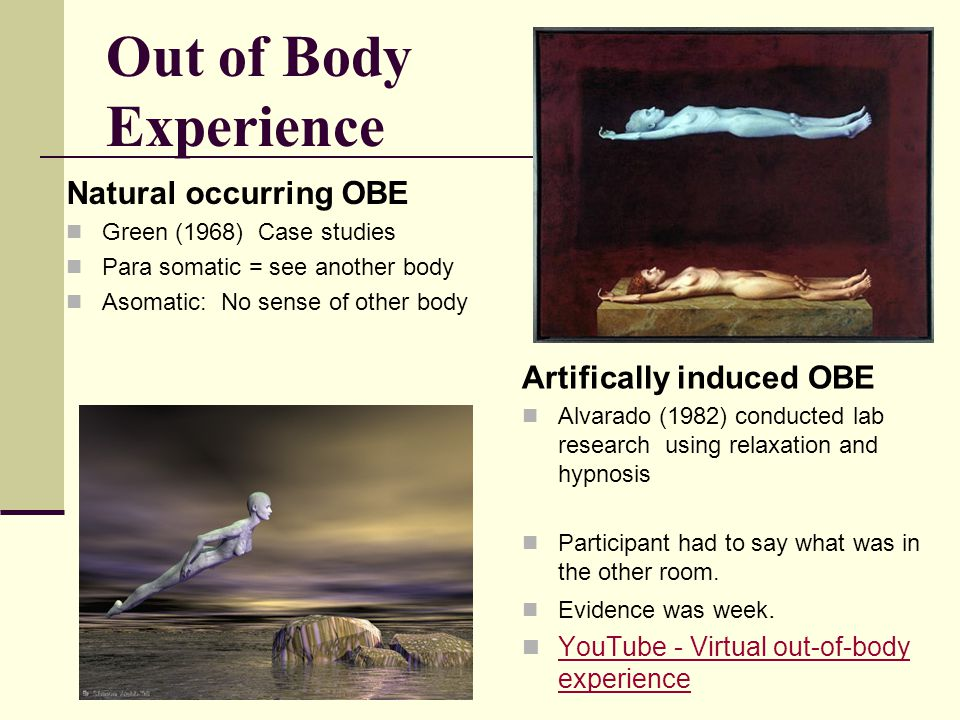 Out of Body Experience Natural occurring OBE Artifically induced OBE