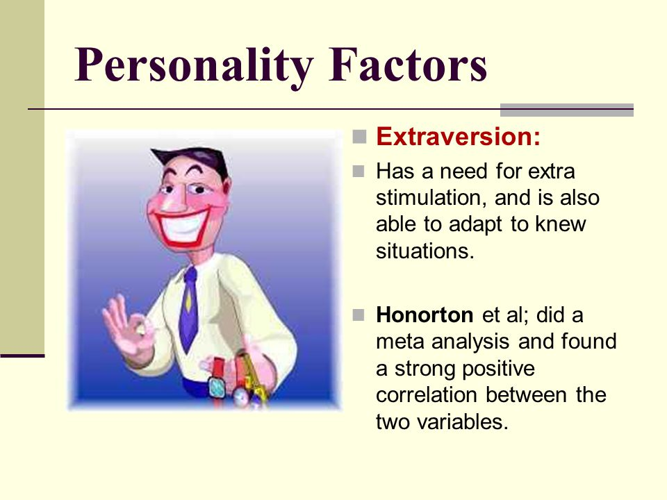 Personality Factors Extraversion: