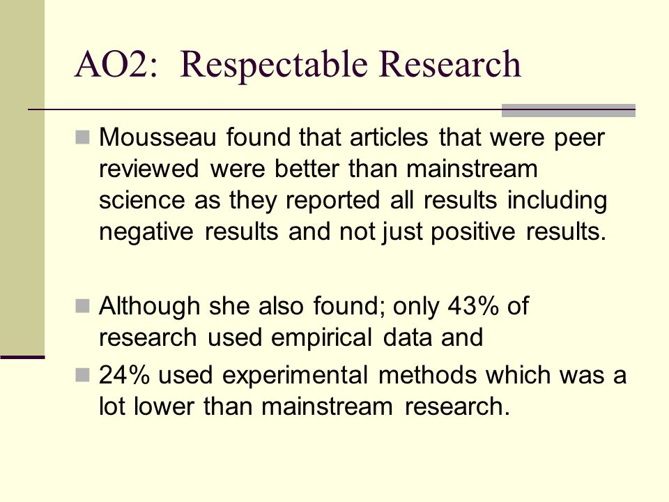 AO2: Respectable Research