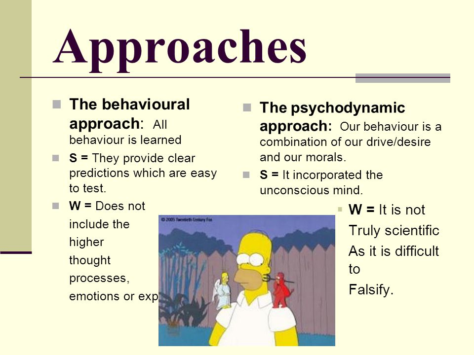 Approaches The behavioural approach: All behaviour is learned
