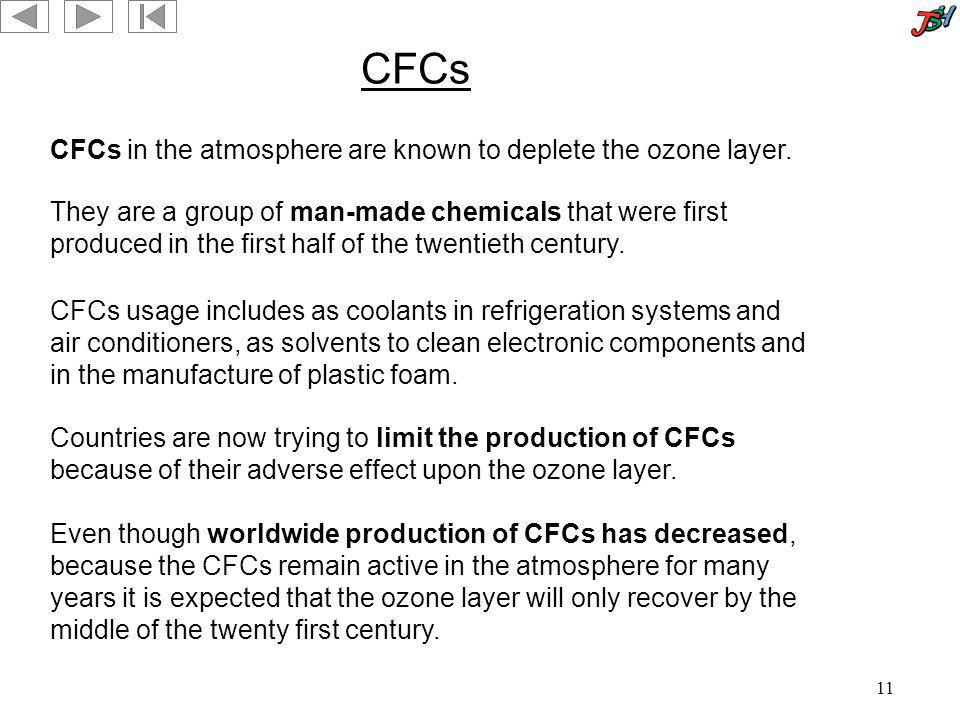 CFCs CFCs in the atmosphere are known to deplete the ozone layer.