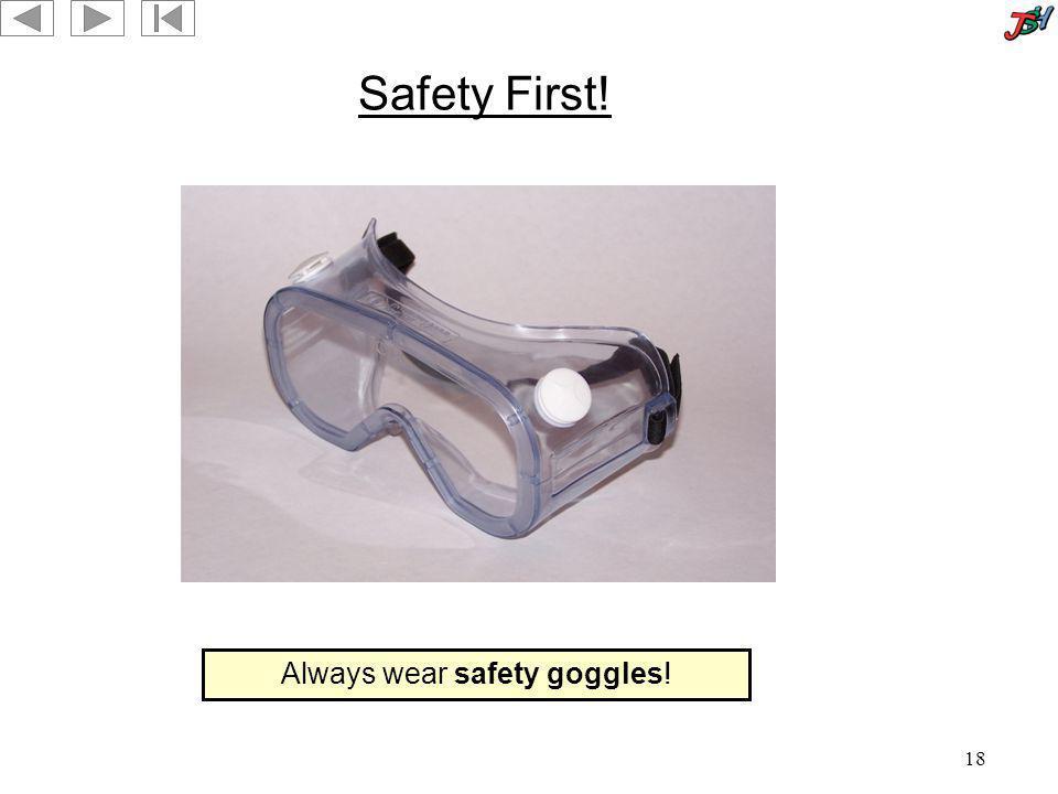 Always wear safety goggles!