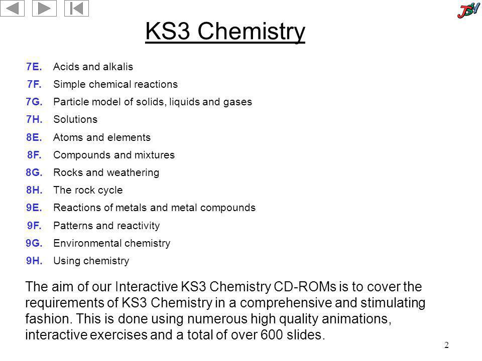 KS3 Chemistry 7E. Acids and alkalis. 7F. Simple chemical reactions. 7G. Particle model of solids, liquids and gases.