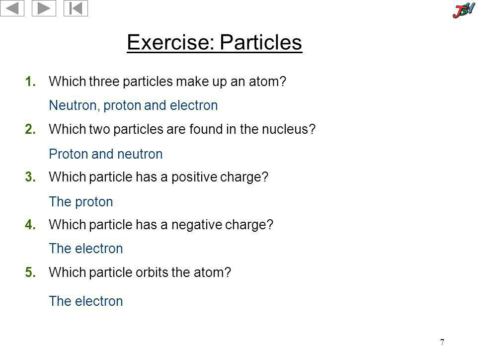 Exercise: Particles 1. Which three particles make up an atom