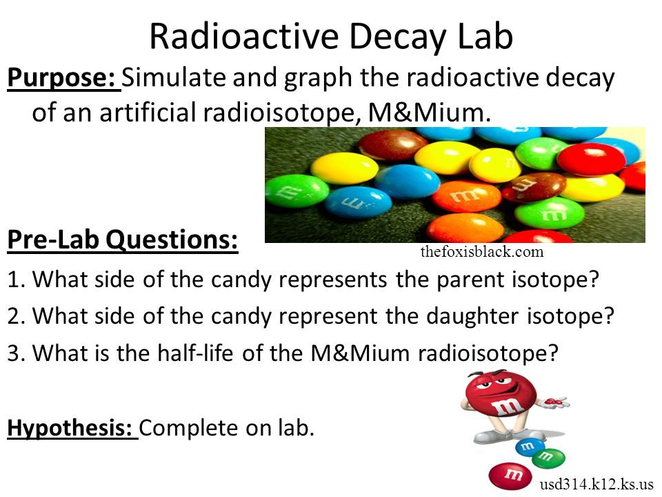 Radioactive Decay Lab Purpose: Simulate and graph the radioactive decay of an artificial radioisotope, M&Mium.
