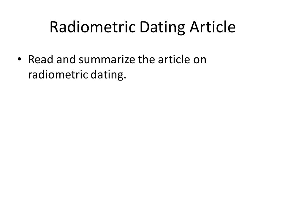 Radiometric Dating Article