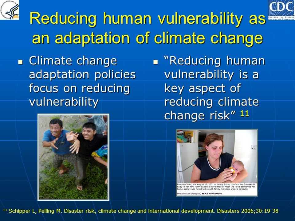 Reducing human vulnerability as an adaptation of climate change