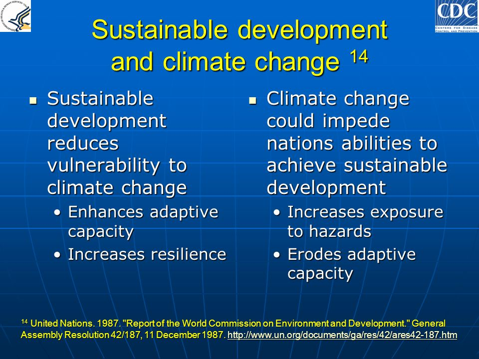 Sustainable development and climate change 14