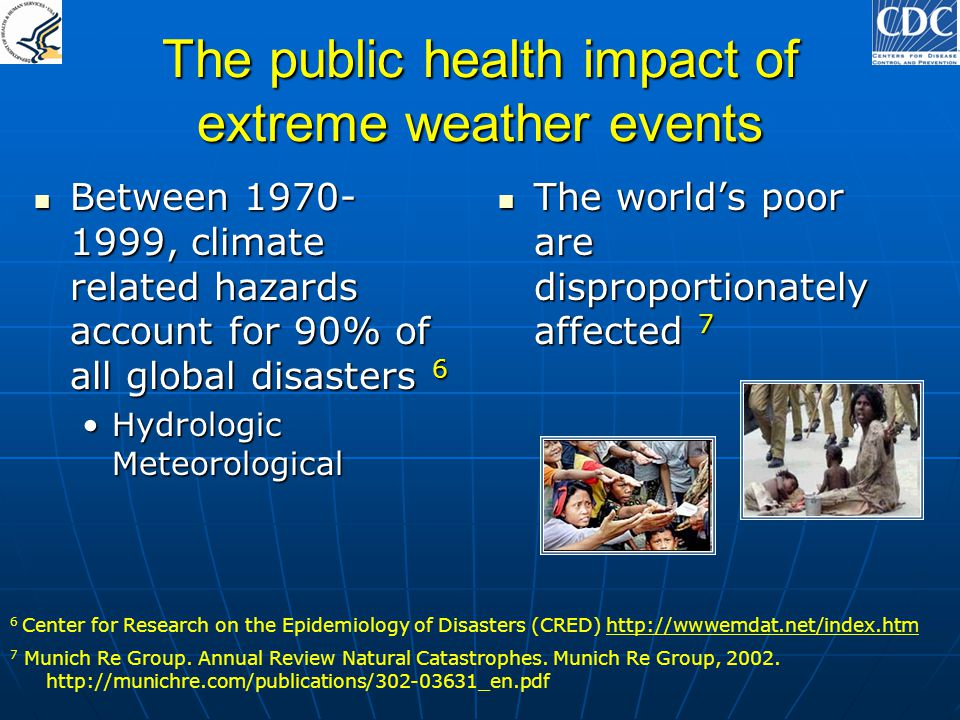 The public health impact of extreme weather events