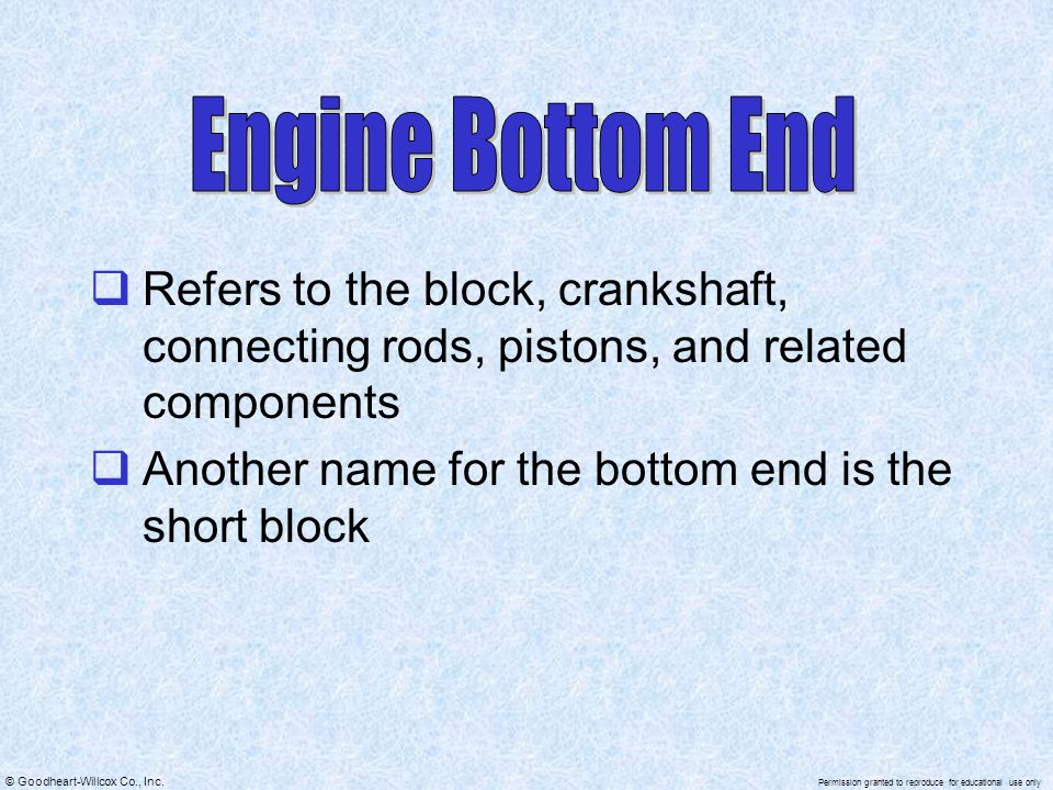 Engine Bottom End Refers to the block, crankshaft, connecting rods, pistons, and related components.