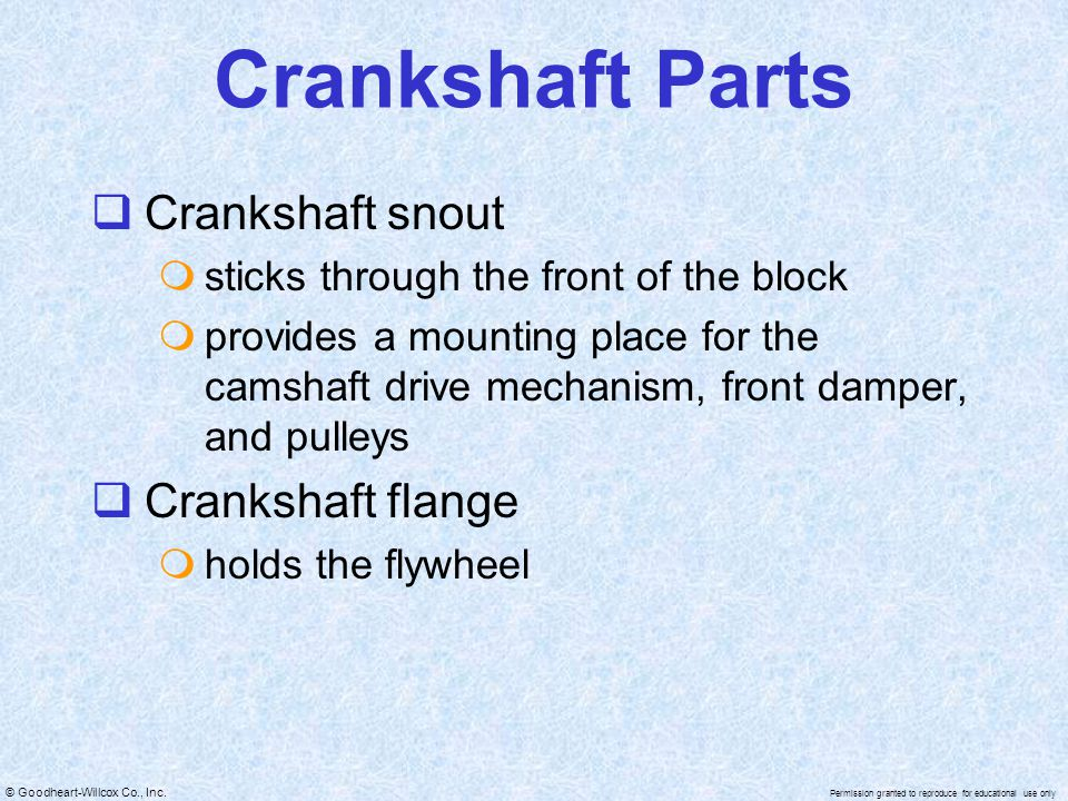 Crankshaft Parts Crankshaft snout Crankshaft flange