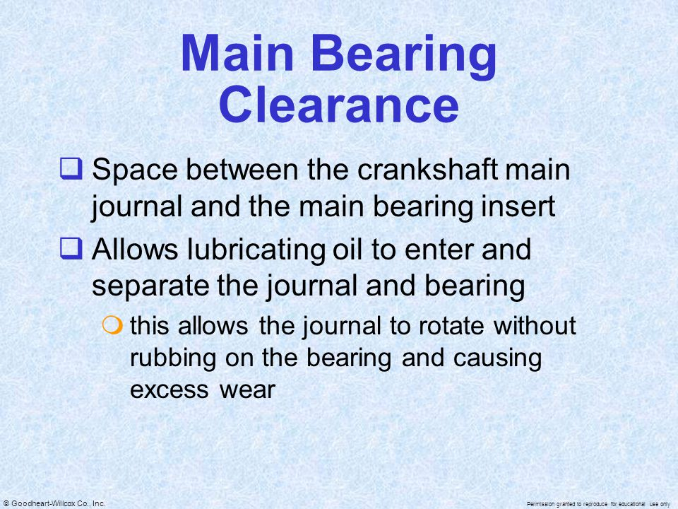 Main Bearing Clearance
