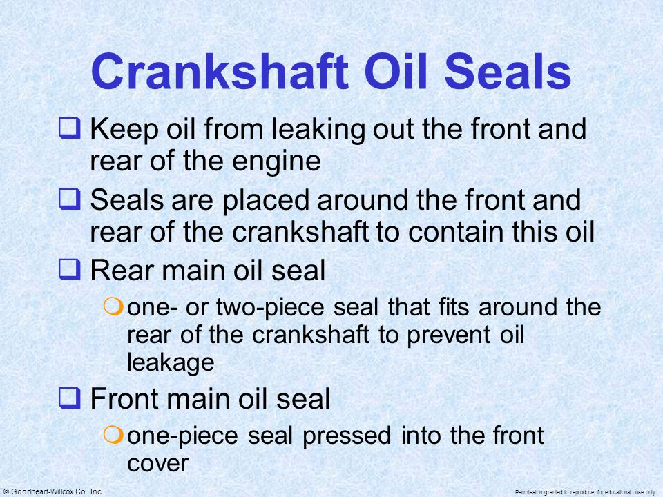 Crankshaft Oil Seals Keep oil from leaking out the front and rear of the engine.