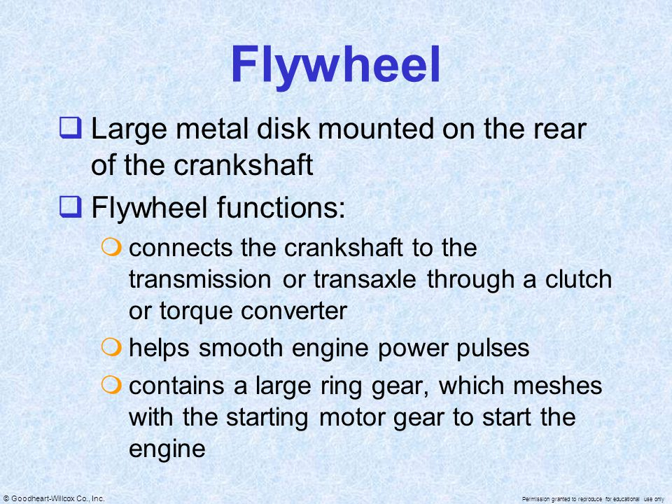 Flywheel Large metal disk mounted on the rear of the crankshaft