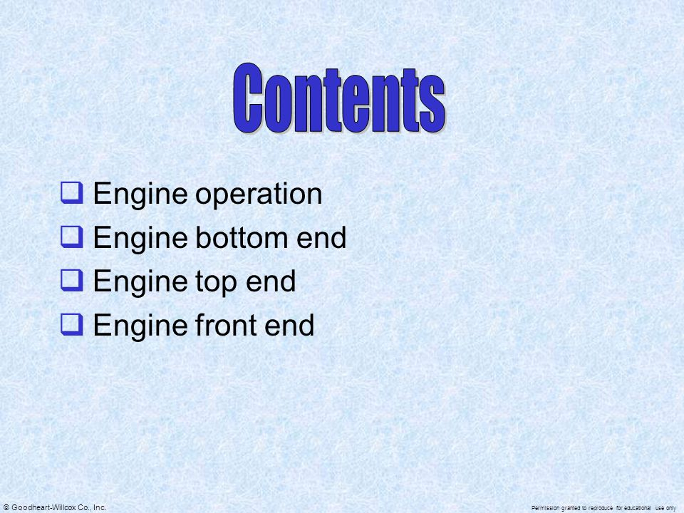 Contents Engine operation Engine bottom end Engine top end