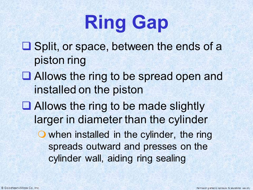 Ring Gap Split, or space, between the ends of a piston ring