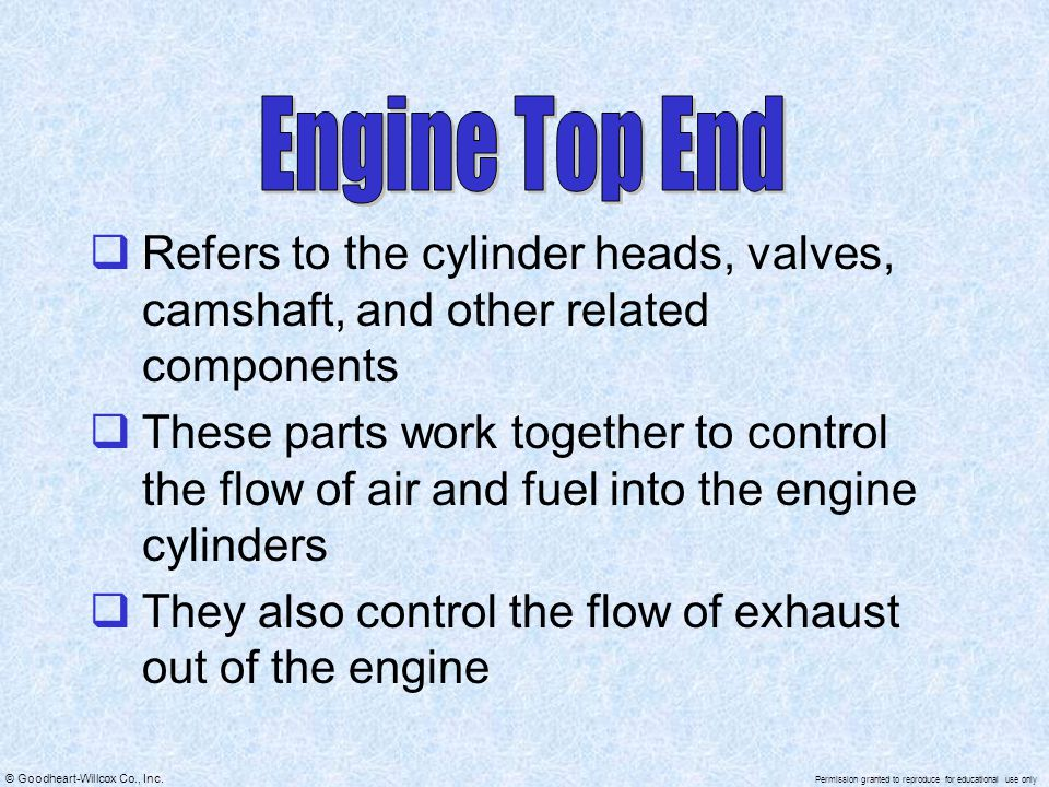 Engine Top End Refers to the cylinder heads, valves, camshaft, and other related components.