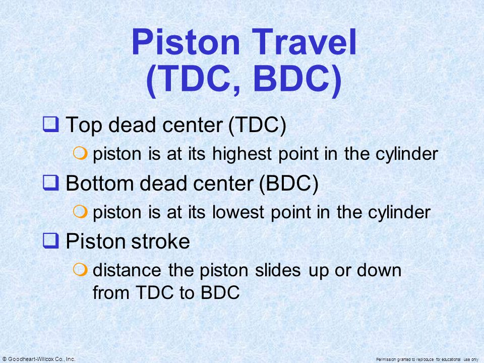 Piston Travel (TDC, BDC)