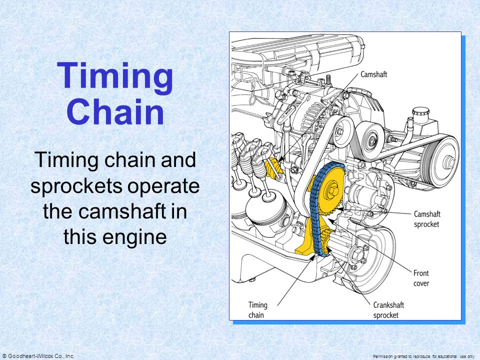 Timing chain and sprockets operate the camshaft in this engine