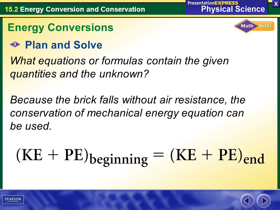 Energy Conversions Plan and Solve.