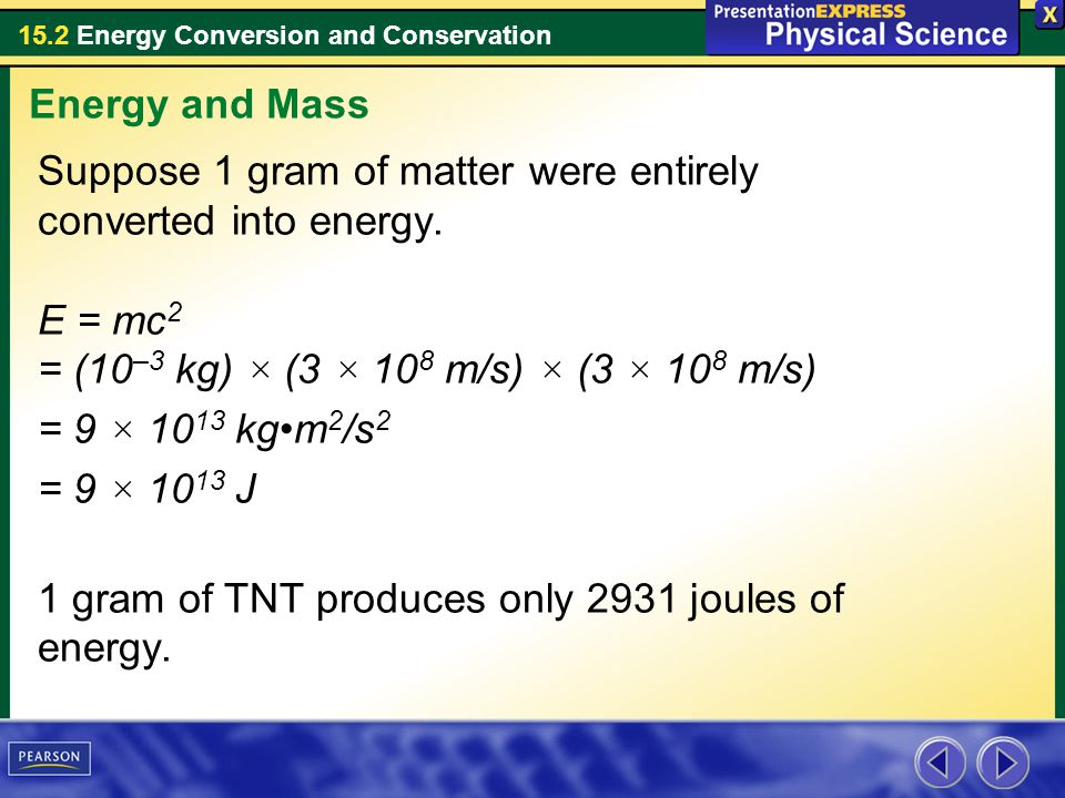 Energy and Mass Suppose 1 gram of matter were entirely converted into energy. E = mc2 = (10–3 kg) × (3 × 108 m/s) × (3 × 108 m/s)