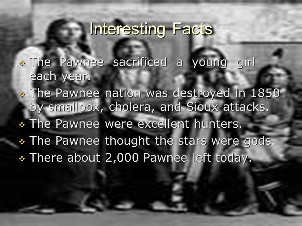 Interesting Facts The Pawnee sacrificed a young girl each year.