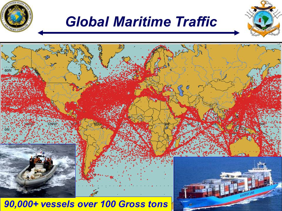 Global Maritime Traffic 90,000+ vessels over 100 Gross tons