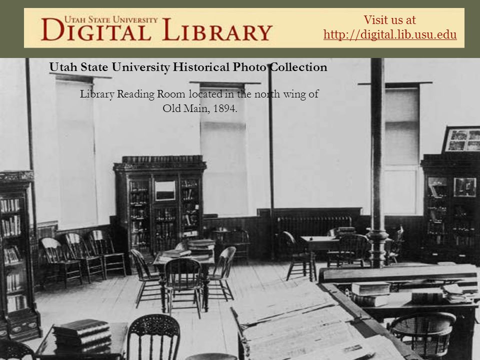 Library Reading Room located in the north wing of Old Main, 1894.