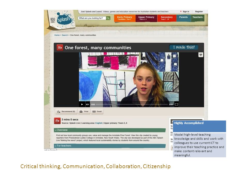 Critical thinking, Communication, Collaboration, Citizenship