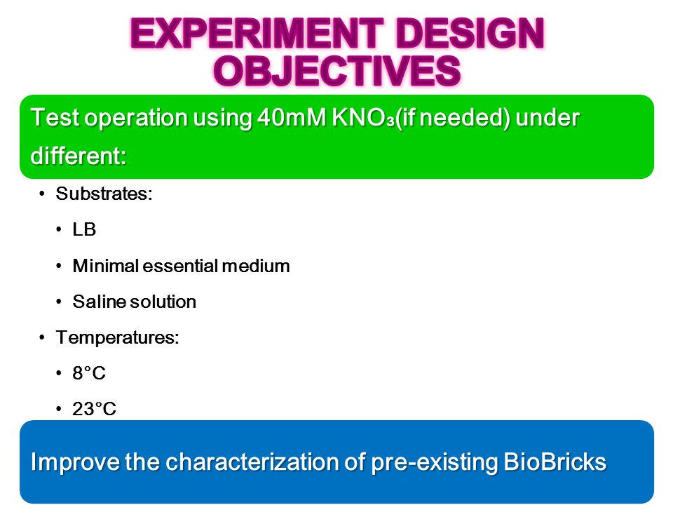 EXPERIMENT DESIGN OBJECTIVES