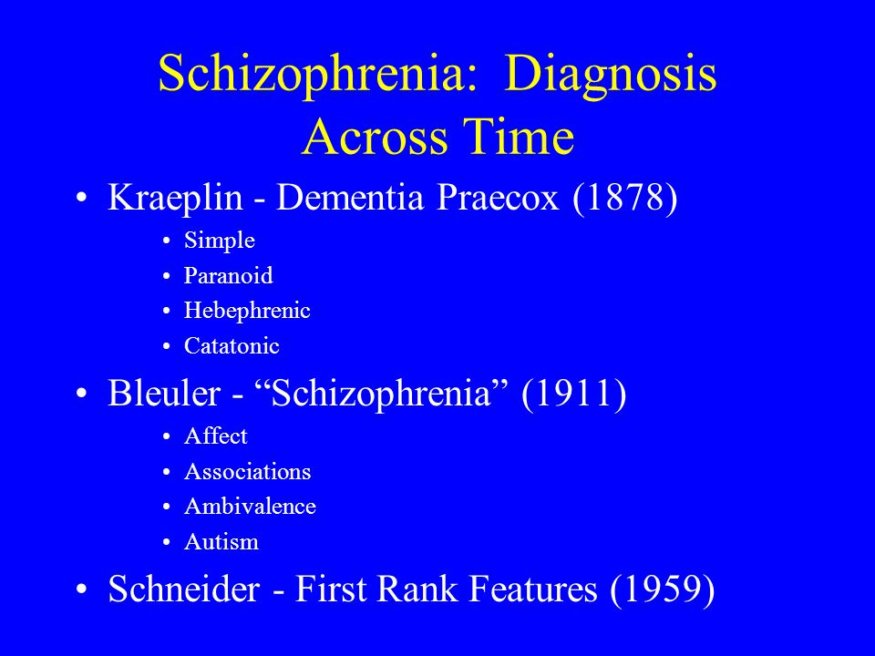 Schizophrenia: Diagnosis Across Time