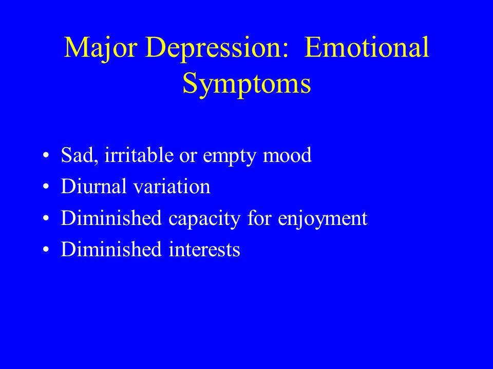Major Depression: Emotional Symptoms