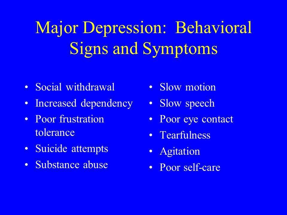 Major Depression: Behavioral Signs and Symptoms