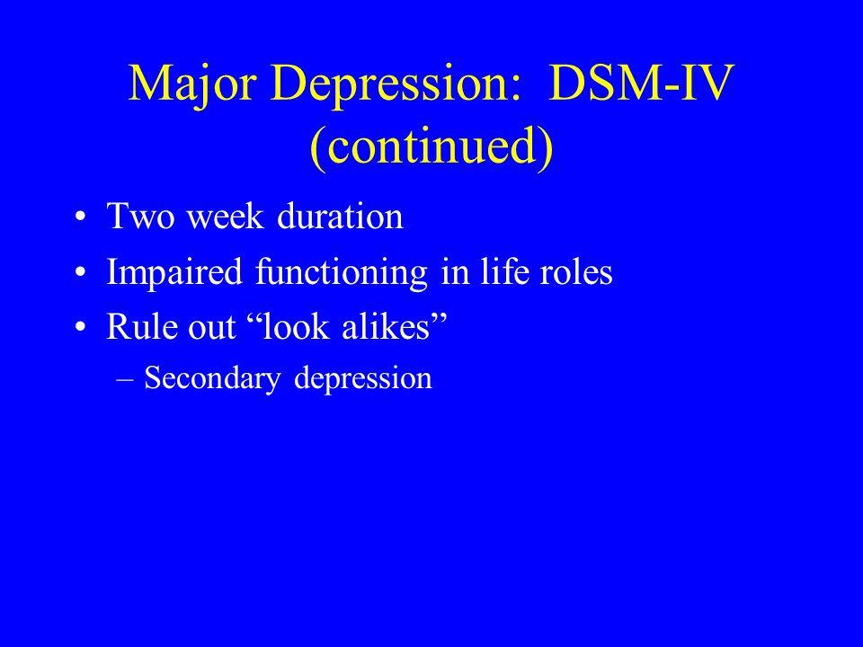Major Depression: DSM-IV (continued)