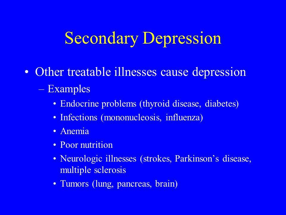 Secondary Depression Other treatable illnesses cause depression
