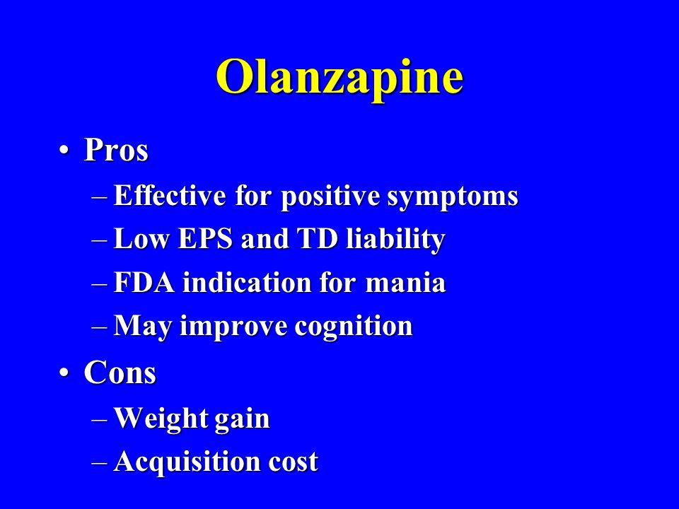Olanzapine Pros Cons Effective for positive symptoms
