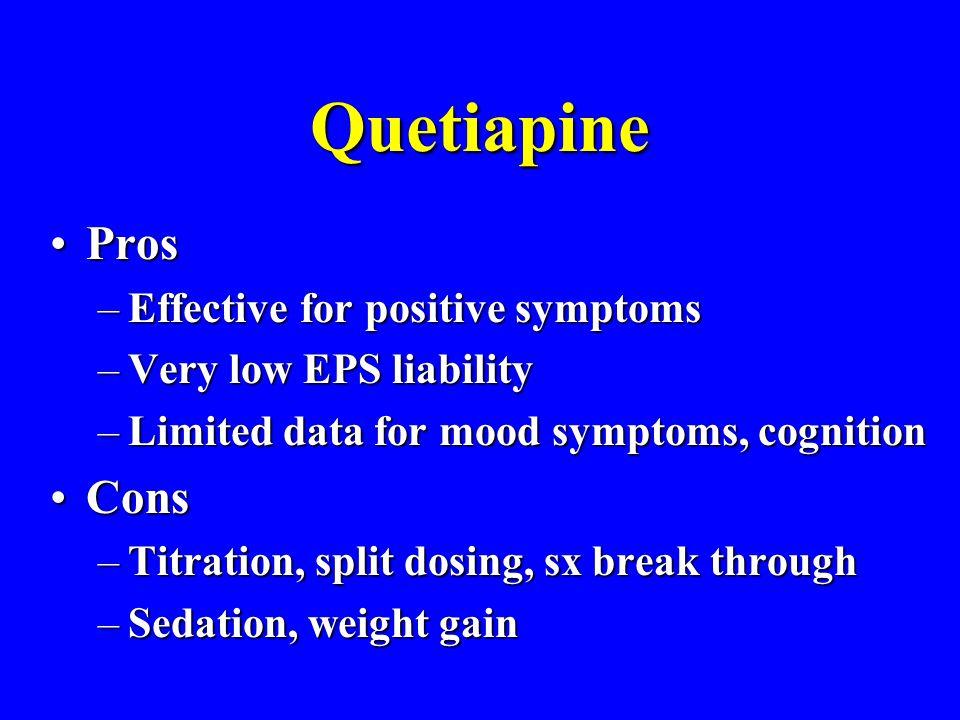 Quetiapine Pros Cons Effective for positive symptoms