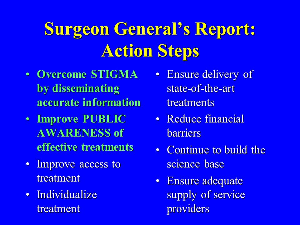 Surgeon General's Report: Action Steps