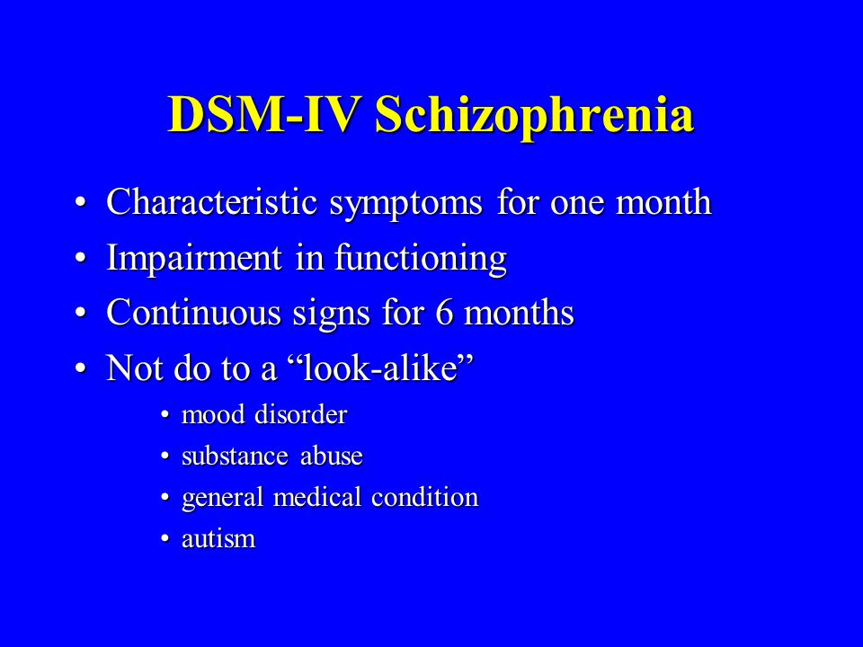 DSM-IV Schizophrenia Characteristic symptoms for one month