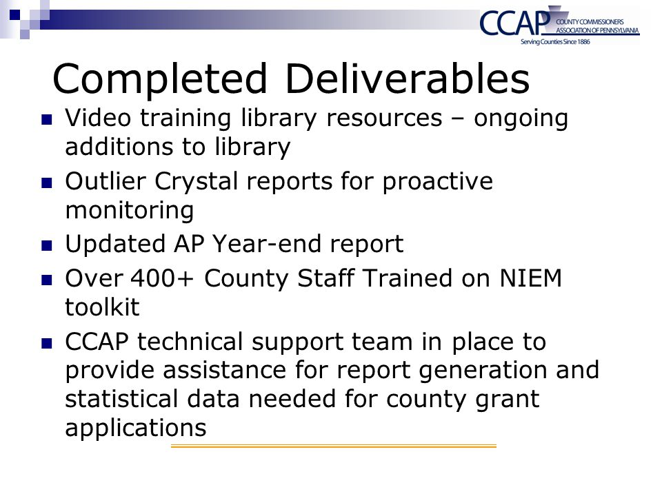 Completed Deliverables