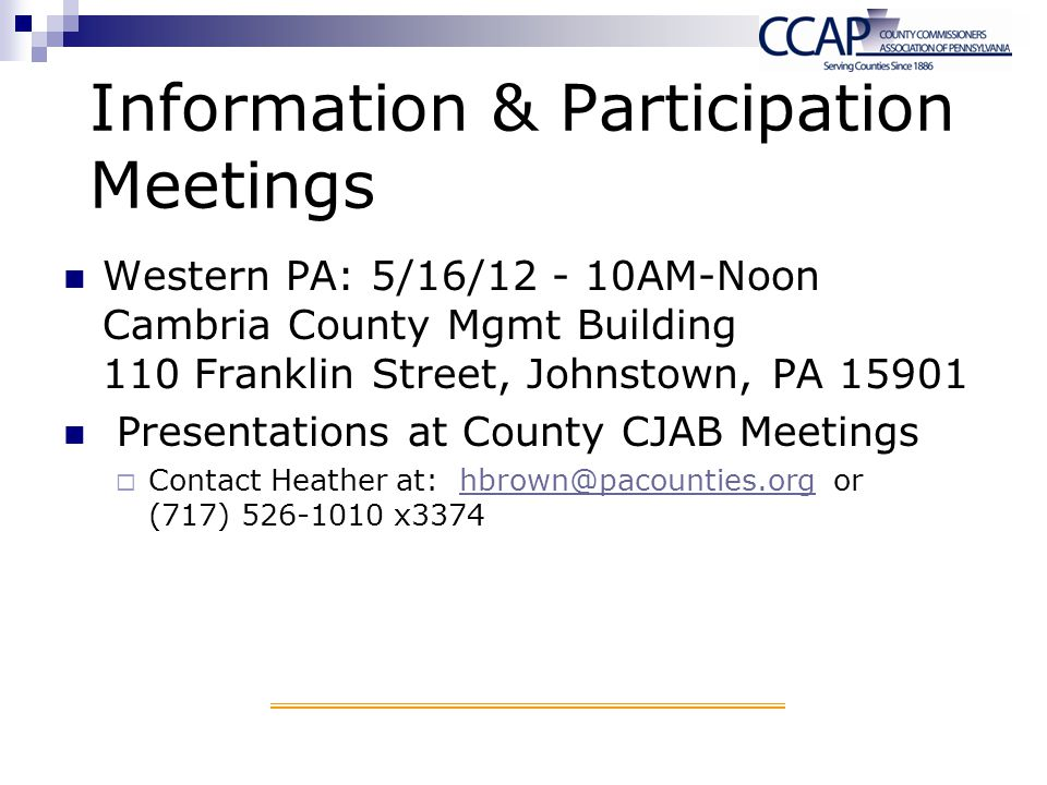 Information & Participation Meetings