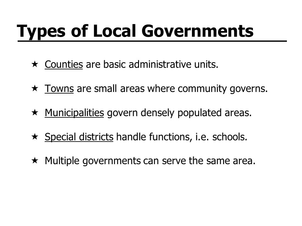 Types of Local Governments