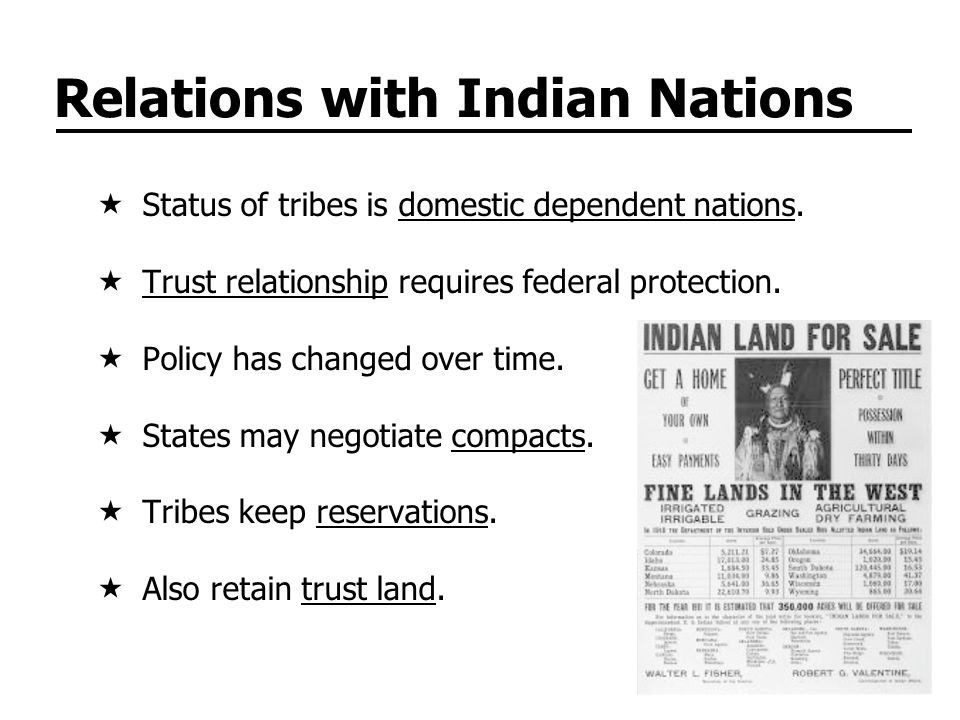 Relations with Indian Nations