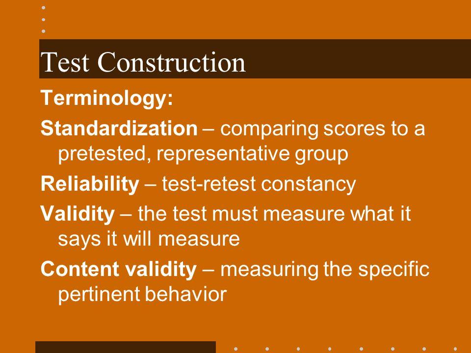 Test Construction Terminology: