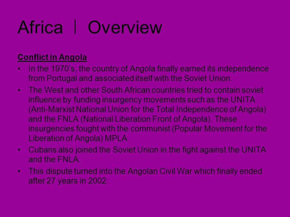 Africa Overview Conflict in Angola