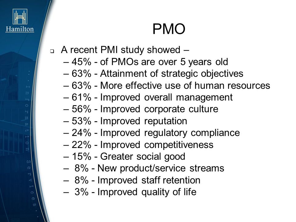 PMO A recent PMI study showed – – 45% - of PMOs are over 5 years old