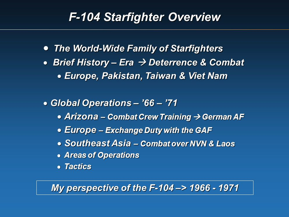 F-104 Starfighter Overview