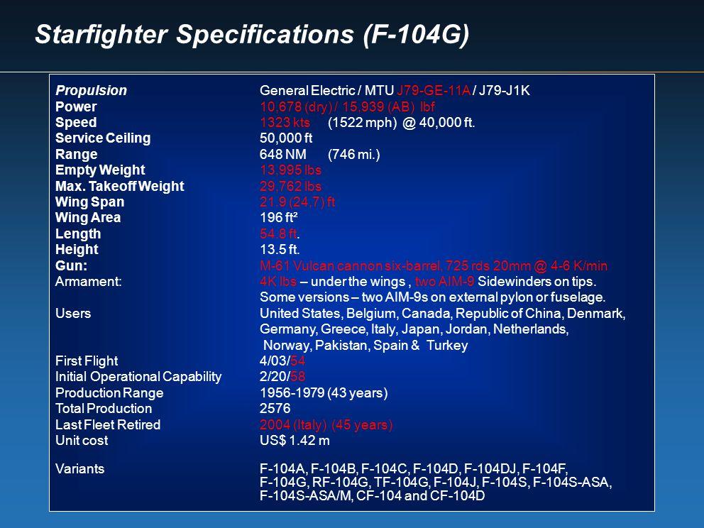 Starfighter Specifications (F-104G)